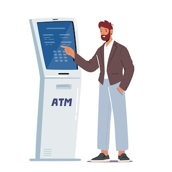 Man insert password in automated teller machine