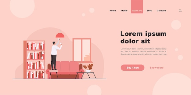 Man inserting light bulbs into chandelier. repair, lighting landing page in flat style