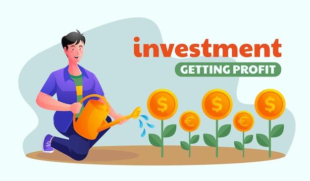 Человек инвестирует и получает прибыль