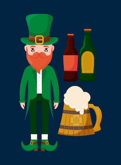 Man irish with beers avatar character