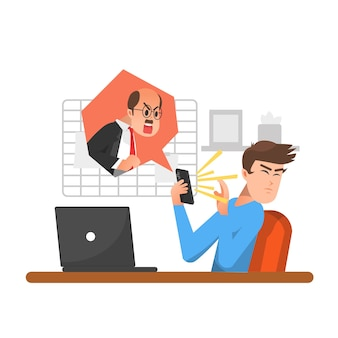 An man is being scolded by his grumpy boss over the phone