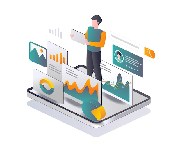 Man is collecting seo data analysis in isometric illustration