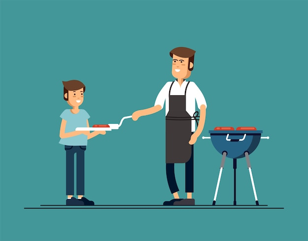 Мужчина готовит барбекю-гриль со своим сыном. жарить мясо и сосиски на огне. иллюстрация в плоском стиле