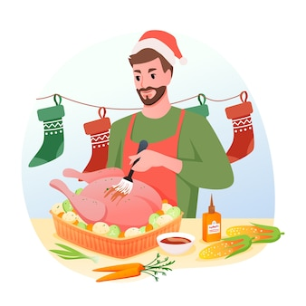 Man is cooking traditional christmas turkey for dinner, winter holidays at home