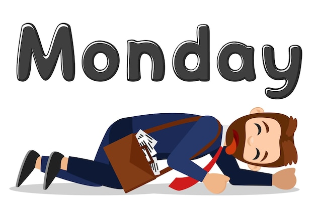The man is crawling tired to work on monday. the character
