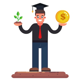 The man is engaged in gardening. businessman earns on plants. flat character vector illustration