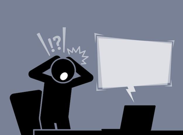 남자는 인터넷에서 뉴스를 읽은 후 충격과 놀라움을 느낍니다. 그는 불신을 표현하기 위해 양손을 머리 뒤로 댄다.