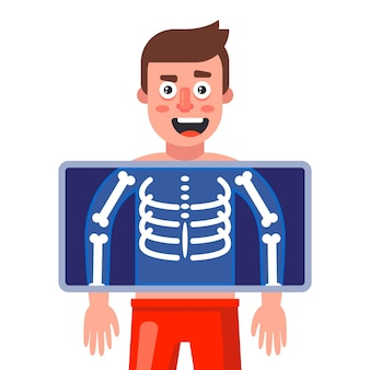 A man is given an x-ray to detect diseases. flat vector illustration.