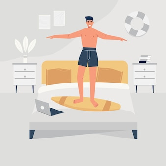 A man is happily dancing on his bed. flat illustration of a man inside his house interior.