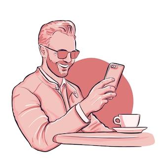 男はsmaptphoneでビデオ通話をしています