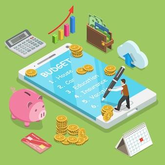 Мужчина планирует семейный бюджет и записывает его в смартфон.