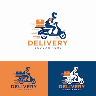 A man is riding a scooter. delivery logo