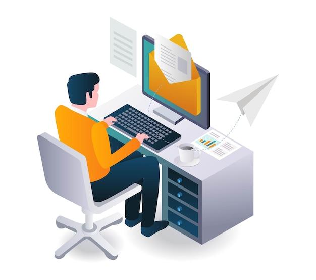 남자가 안전하게 이메일을 보내고 책상에서 일하고 있다