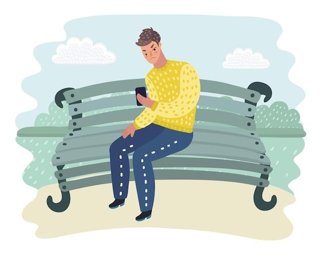 スマートフォンを見てショックを受ける男性