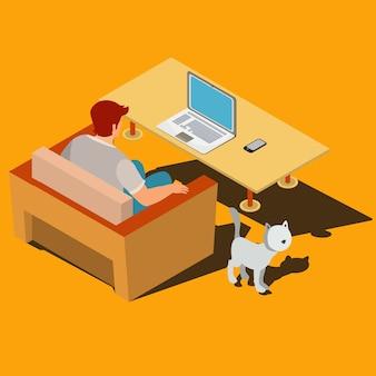 Человек сидит на кресле и смотрит на изометрический вектор монитора ноутбука