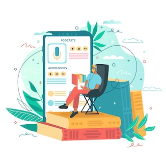 Man is sitting and reading books. online audio book application, smartphone and colorful books on background. concept for mobile application for reading.  illustration for landing page, ui, app.