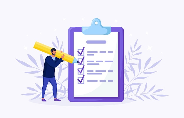 Man is standing near large to do list and filling out checkbox. plan fulfilled, task completed. month planning, time management. daily checklist