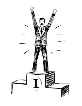 Man is standing on the pedestal. winner, success.
