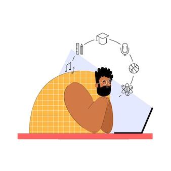 Человек учится онлайн с ноутбуком