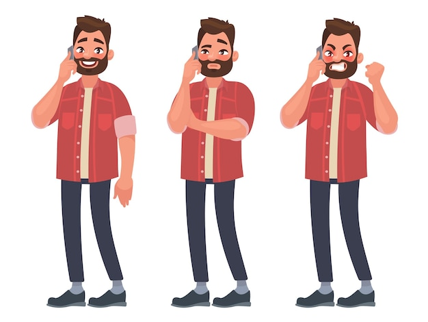 Man is talking on the phone with different emotions. cheerful, thoughtful, angry. in cartoon style