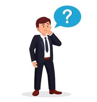 Человек думает. знак вопроса и менеджер. задумчивый бизнесмен