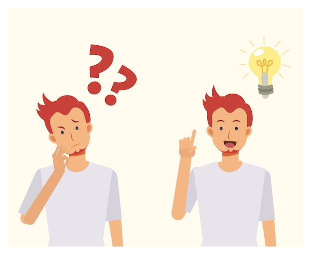 Man is thinking  with question marks. then have some idea pop out.problem solving concepts. cartoon  illustration.