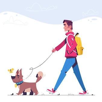 男は犬と一緒に歩いています。幸せな犬の散歩代行者。面白い子犬