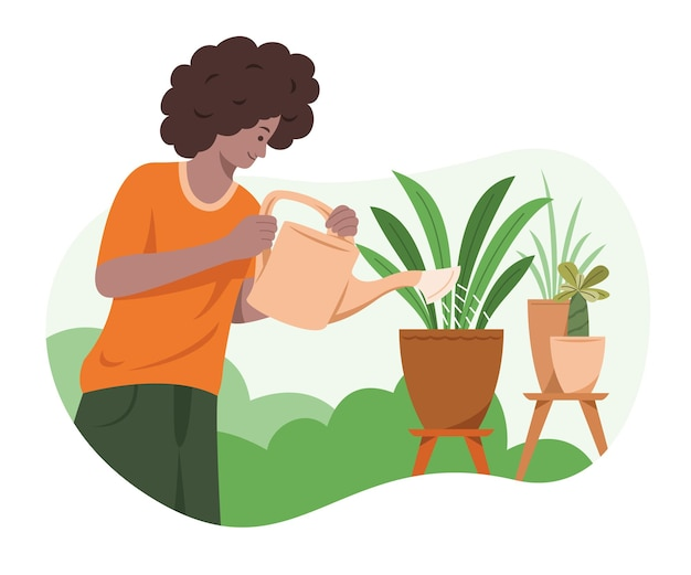 男は庭の植物に水をまきます。
