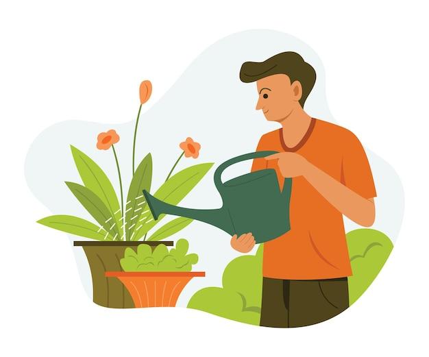 남자는 정원에있는 식물에 물을주고있다.