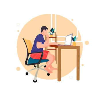 Man is working with laptop flat line contour illustration