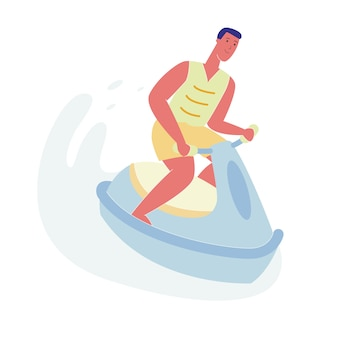 Man on jet ski, character riding water scooter