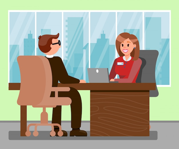 Man at job interview color vector illustration