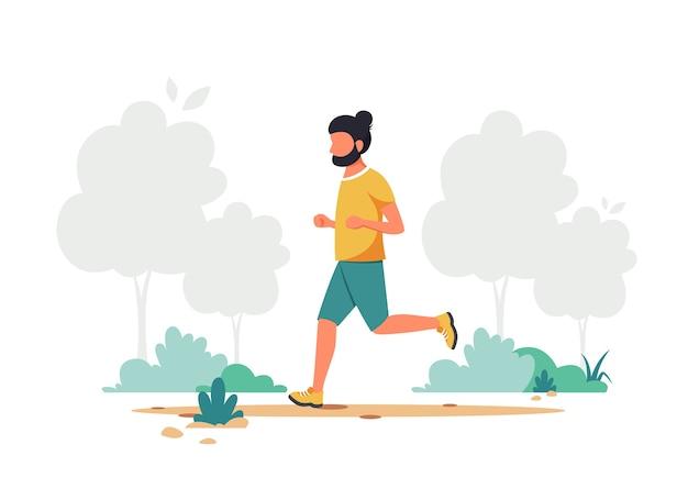 公園でジョギングしている男
