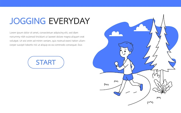 A man joggings outdoor, simple and clean doodle vector illustration