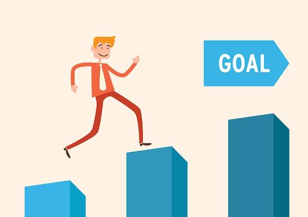 목표에 도달 차트에 남자 점프