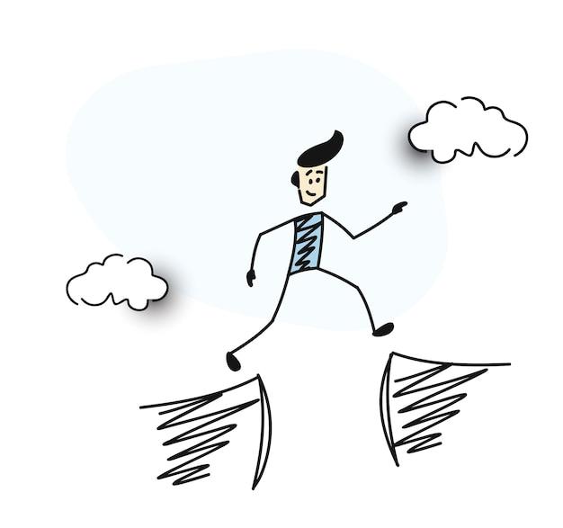 男は丘の間のギャップ、漫画の手描きのスケッチベクトルイラストをジャンプします。