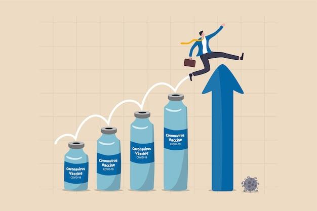 상승 화살표 경제 차트에 코로나 바이러스 백신 병에 점프하는 남자