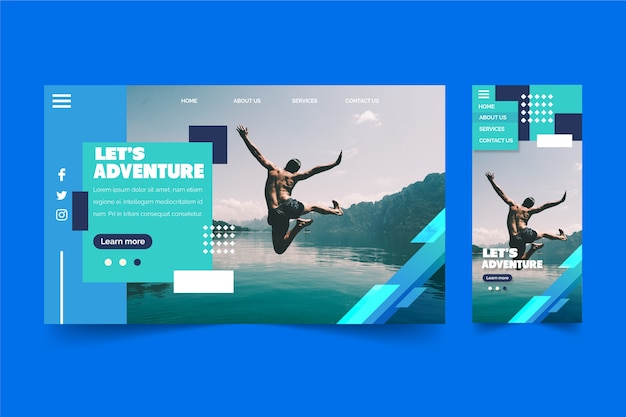Man jumping in water landing page