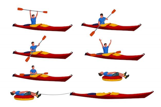 Man in kayak set