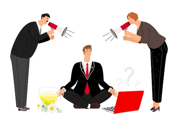 남자는 침착합니다. 물러나 또는 확성기로 긴장된 관리자. 보스 비명, 직원 명상. 깨끗한 마음과 비즈니스 남용 그림