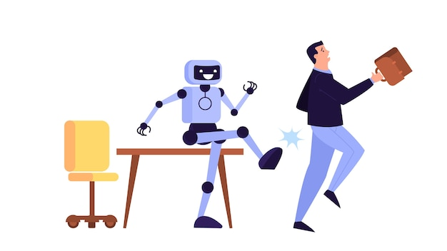 Man kicked out of work. idea of unemployment. jobless person, financial crisis. robot vs human.    illustration