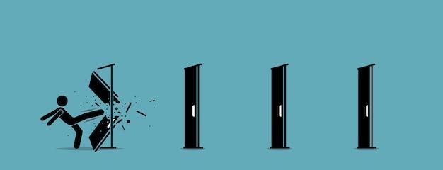 Человек пинает и разрушает дверь одну за другой.