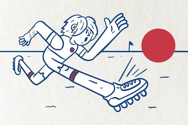 Man kicking football vector
