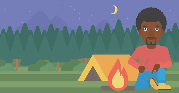 Man kindling campfire vector illustration.