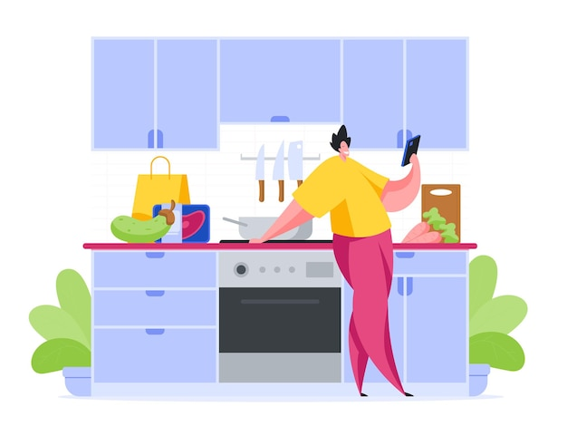 Man in kitchen reads recipe for snack in smartphone cartoon illustration