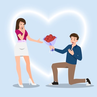 A man kneeling to give roses flowers to women. the designed in romantic concept of people giving love to each other for the festival of love such as valentine's day.