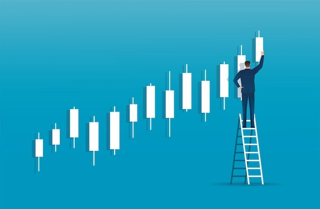 Man on ladder with candlestick chart background