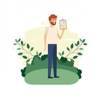 Man in landscape with curriculum vitae