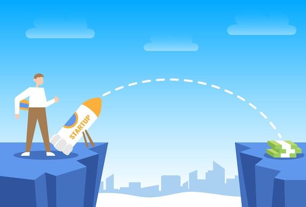로켓 스타트업 개념 성장과 미래의 성공 돈으로 가는 길을 시작하는 남자
