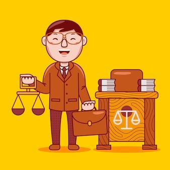 플랫 만화 스타일의 남자 변호사 직업